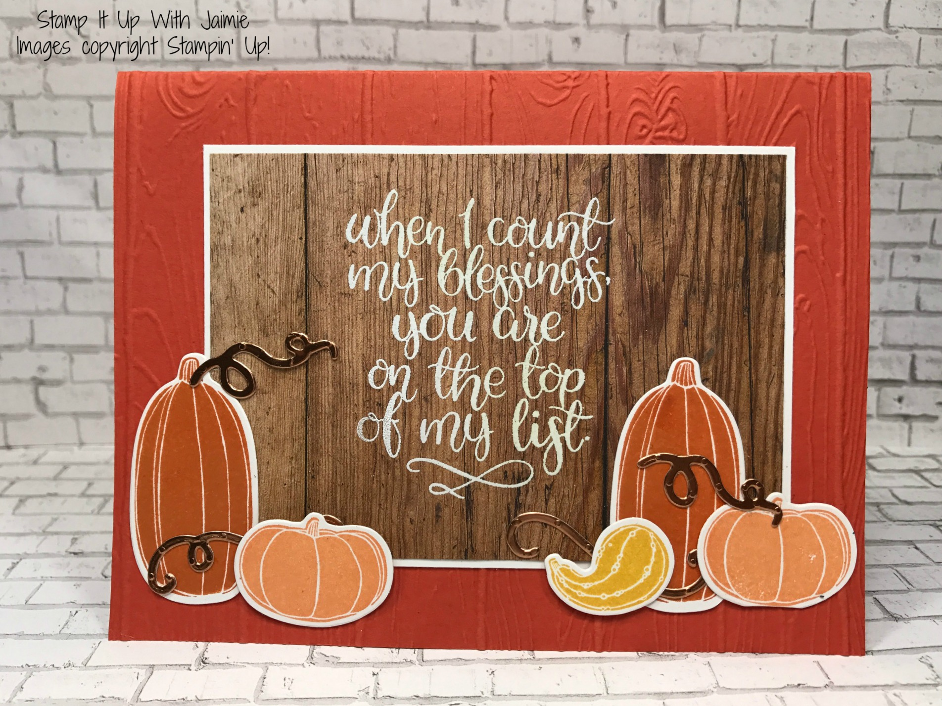 stampin up pick a pumpkin blessings stamp it up with jaimie