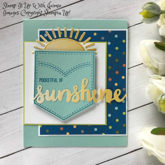 Pocketful of sunshine stamp it up with jaimie for my card today i started off with pool party cardstock i then took a pattern from the birthday memories dsp matted it on whisper white cardstock m4hsunfo